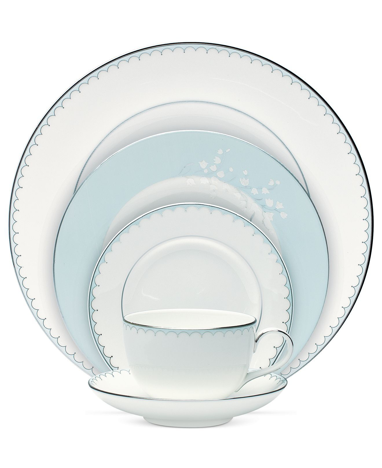 Monique Lhuillier Waterford Dinnerware Lily Of The Valley Blue 5 Piece Place Setting Fine China Dining Entertaining Macys Bridal And Wedding