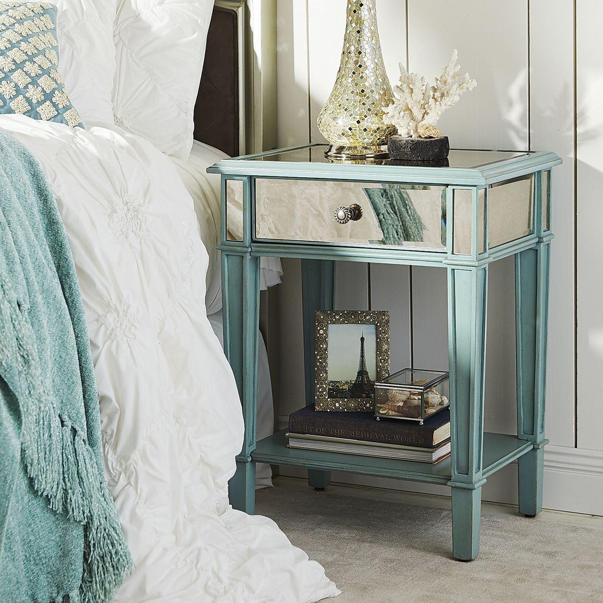 Best Hayworth Mirrored Nightstand Blue Pier 1 Imports 400 x 300