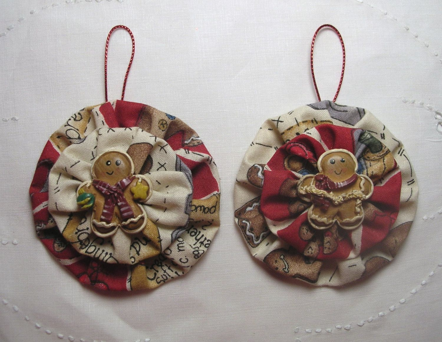 Two Gingerbread Man Christmas Ornaments*fabric Yoyo*gingerbread Theme* Gingerbread Fabric