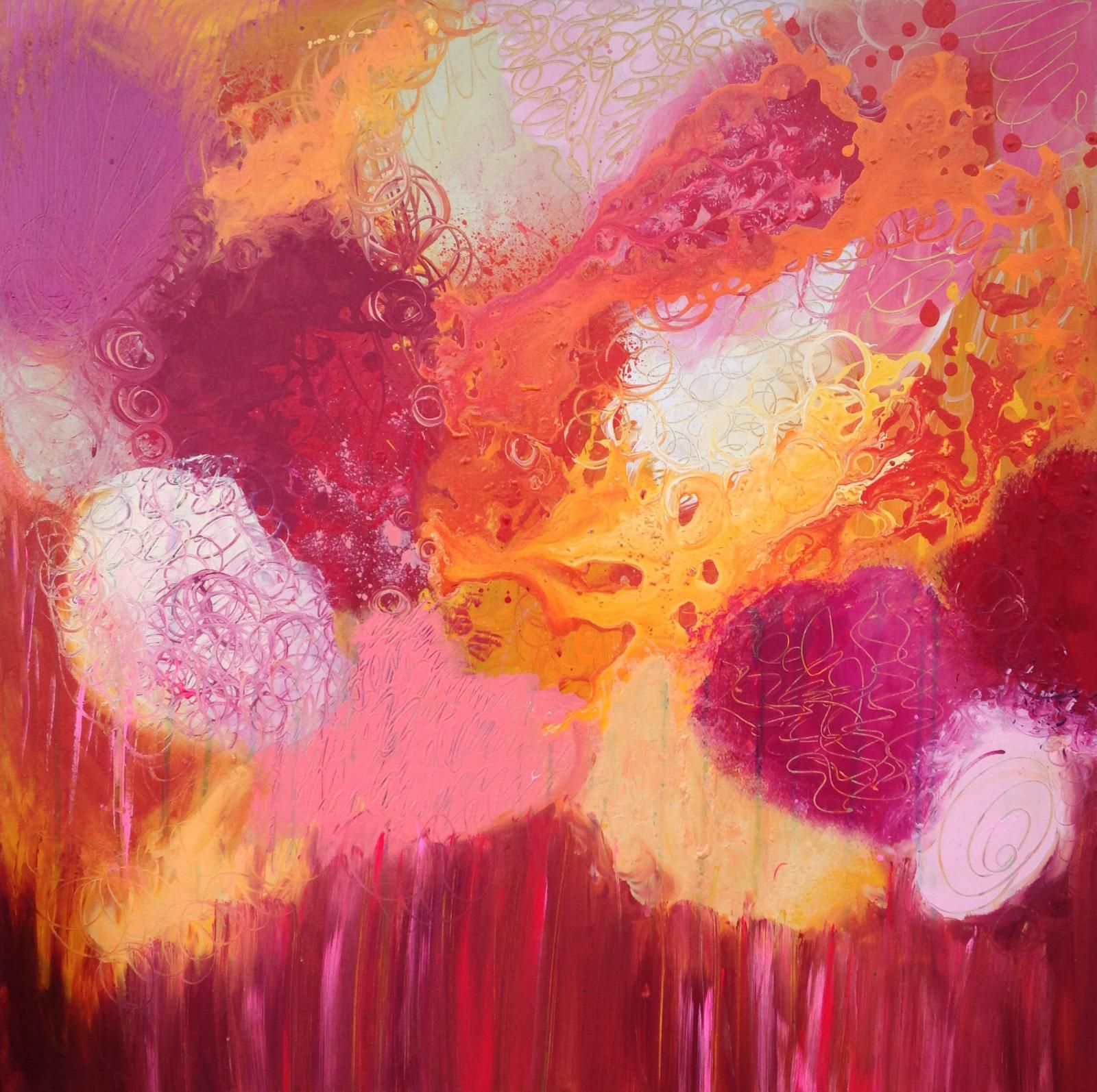 Hot Spring Abstract art painting By Leanne Hughes