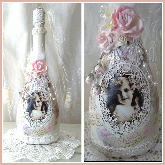 Shabby Chic Bottle Altered Bottle Decorative Bottle