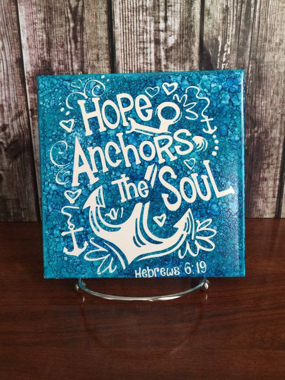 Blue Anchor Tile Hope Anchors the Soul Blue by MonogramsByLisa