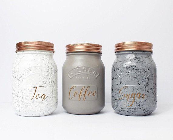 Set Of 3 Marble Grey Kilner Tea Coffee Sugar Canisters