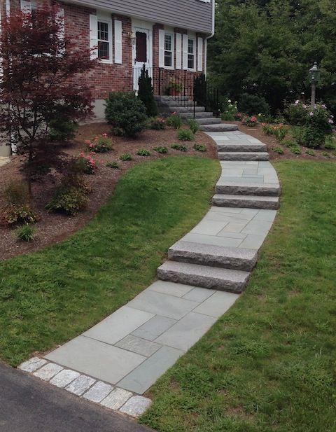 Curved Bluestone Walkway With Granite Steps 480x617 Jpg 480 215 617 Pixels Front Yard Walkway