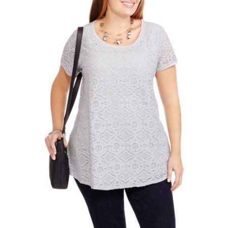Faded Glory Maternity Plus Short Sleeve Lace Front T-Shirt, Size: 2XL, Silver