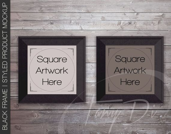 8x8 10x10 16x16 Set of 2 Square Black Frames by TanyDiDesignStudio ...