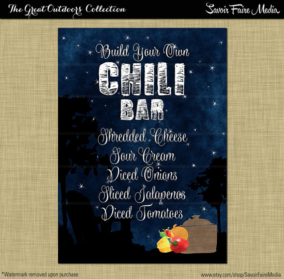 Chili Bar Sign Bonfire Birthday Backyard Outside Firepit Party Couples Coed