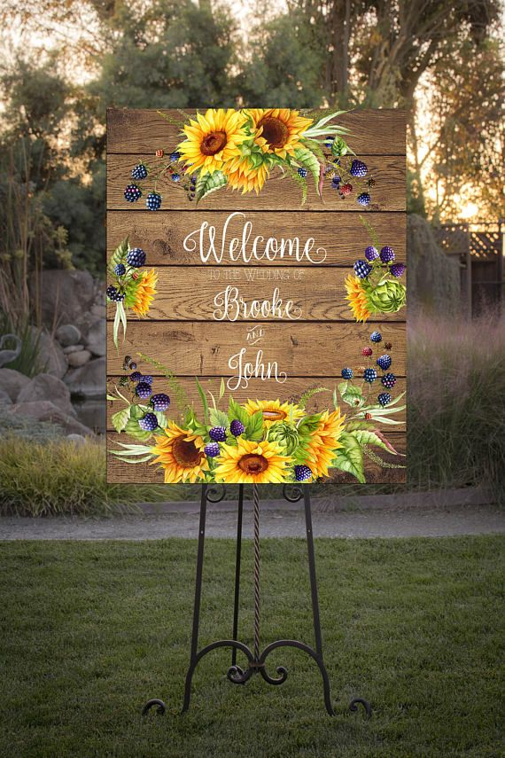 Welcome Your Wedding Or Shower Guests With This Beautiful Water Color Sign Decorated Sunflowers And Summer Berries On A Rustic Wood Ba