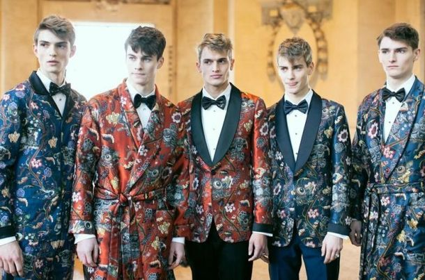 Of the examples of men's florals, this is a more masculine take. Using dark and moody colours and a classic silhouette, this is the trend used in more formal attire.