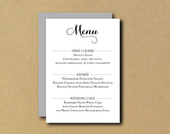 Printable Custom DIY Menu Card - Romantic Chic #LittlePaperLantern