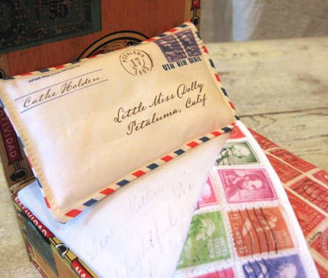 Sadly I Have No Need To Make A Doll Bed Out Of Cigar Box And Vintage Postage Stamp Fabric