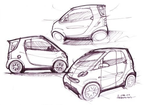 How to Draw Cars - Study: Smart Car sketch | Art Tutorial - Weapons ...