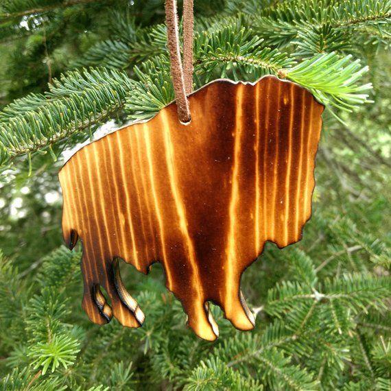 Hanging Christmas Ornaments Silhouette.Buffalo Ornament Buffalo Silhouette Christmas Ornament Wood