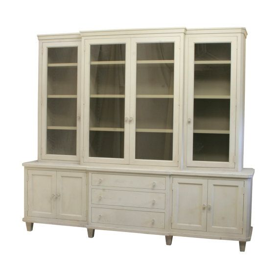 553 Made To Order Clean Lined Gustavian Breakfront Cabinet