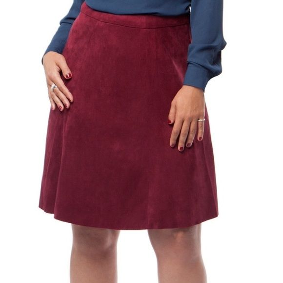 a5df360420 Burgundy Faux Suede Fit and Flare Skirt Flirty and figure flattering faux  suede skirt. Paneled cut. Hidden back zipper. *cover photo sourced from ...