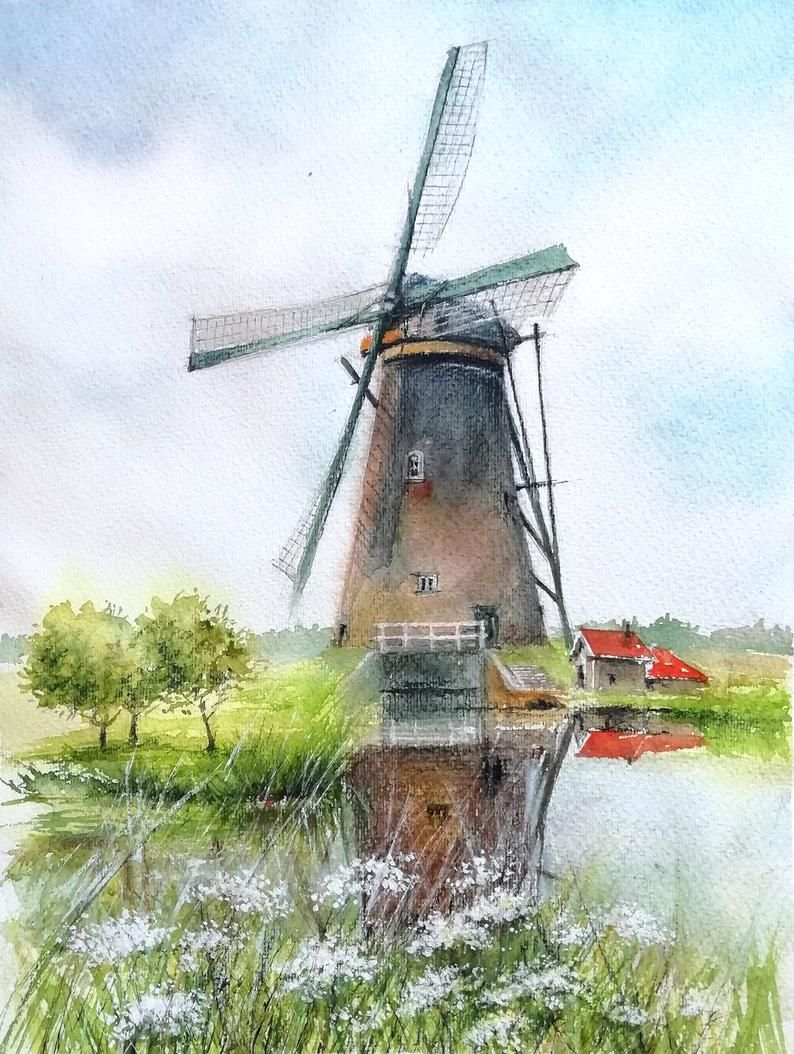 Windmill Watercolor Painting Holland Painting Original Painting