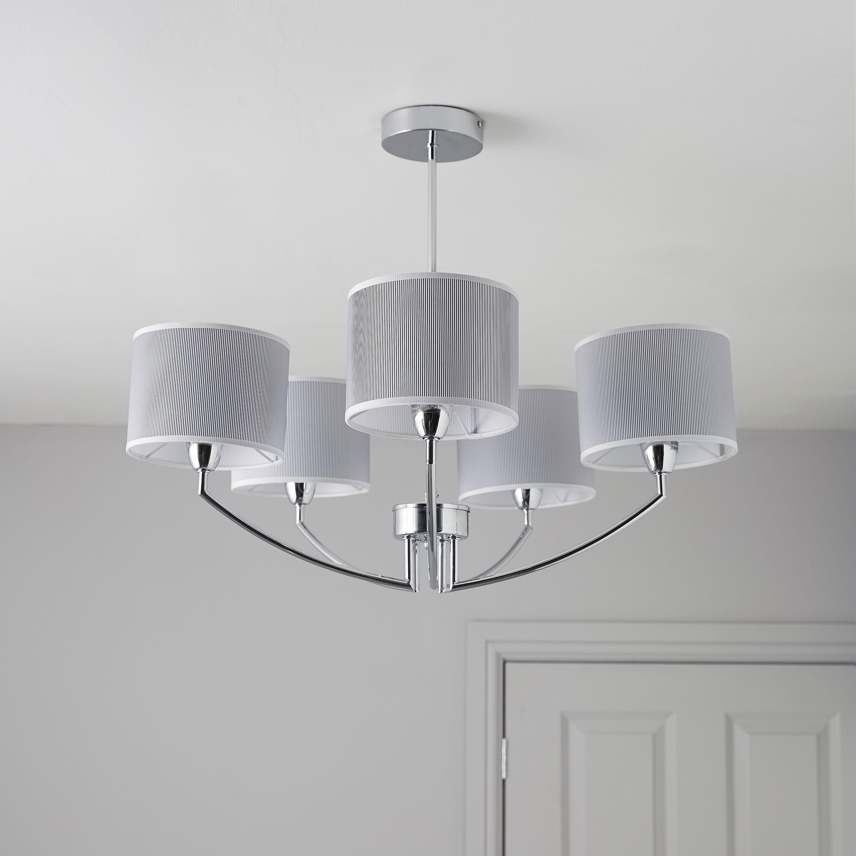lighting for ceilings. fides shaded grey chrome effect 5 lamp pendant ceiling light lighting for ceilings