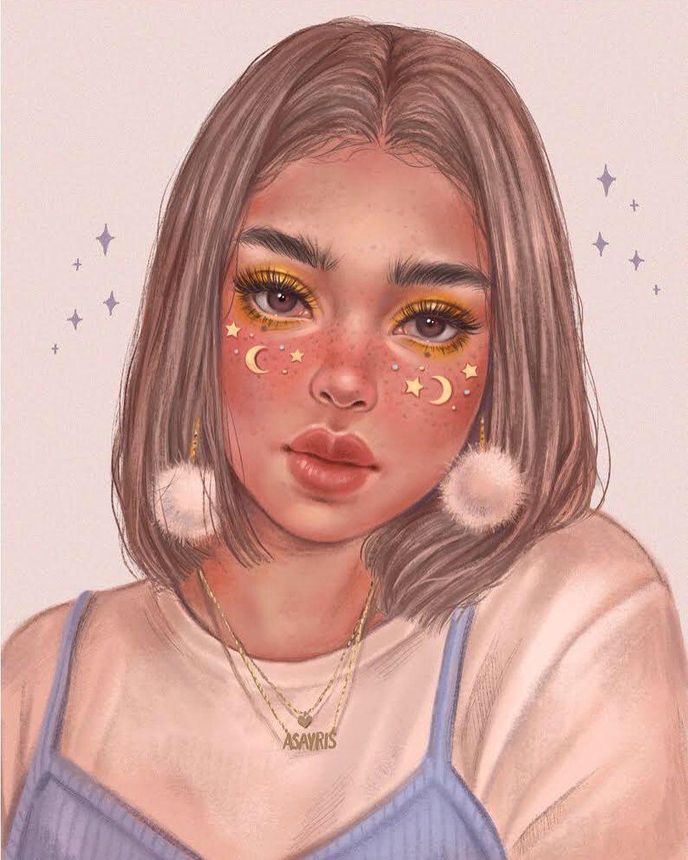 "a s a y r i s on Instagram: ""I don't know what to say, I love stars ✨ 💫 . #procreate #ipadart #digitalart #illustration #sketch #art #aesthetic #drawing #girl…"""