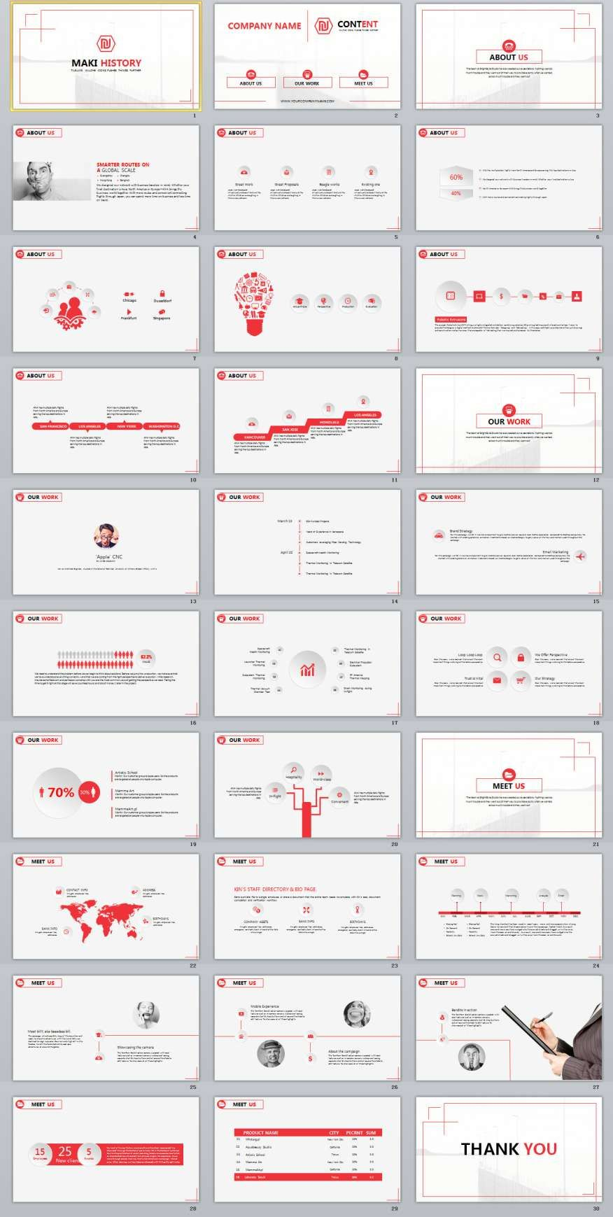 30 red simple business powerpoint template 2018 business