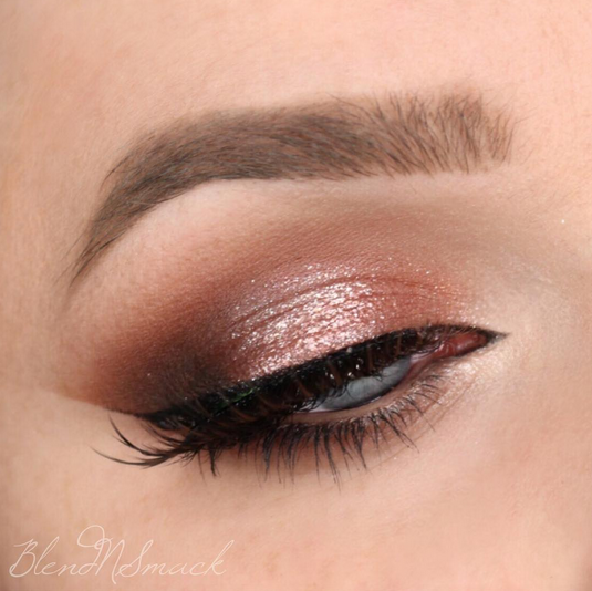 If you can't get enough rose gold, this look is for you! Sarah Hilal used Makeup Geek Eyeshadows in Bada Bing, Cocoa Bear, Creme Brulee, and Peach Smoothie + Makeup Geek Foiled Eyeshadow in In The Spotlight to create this delicate look.