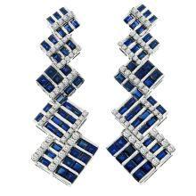 8.00ct_Sapphire_2.00ct_Diamond_Gold_Earrings | Heirloom Diamonds