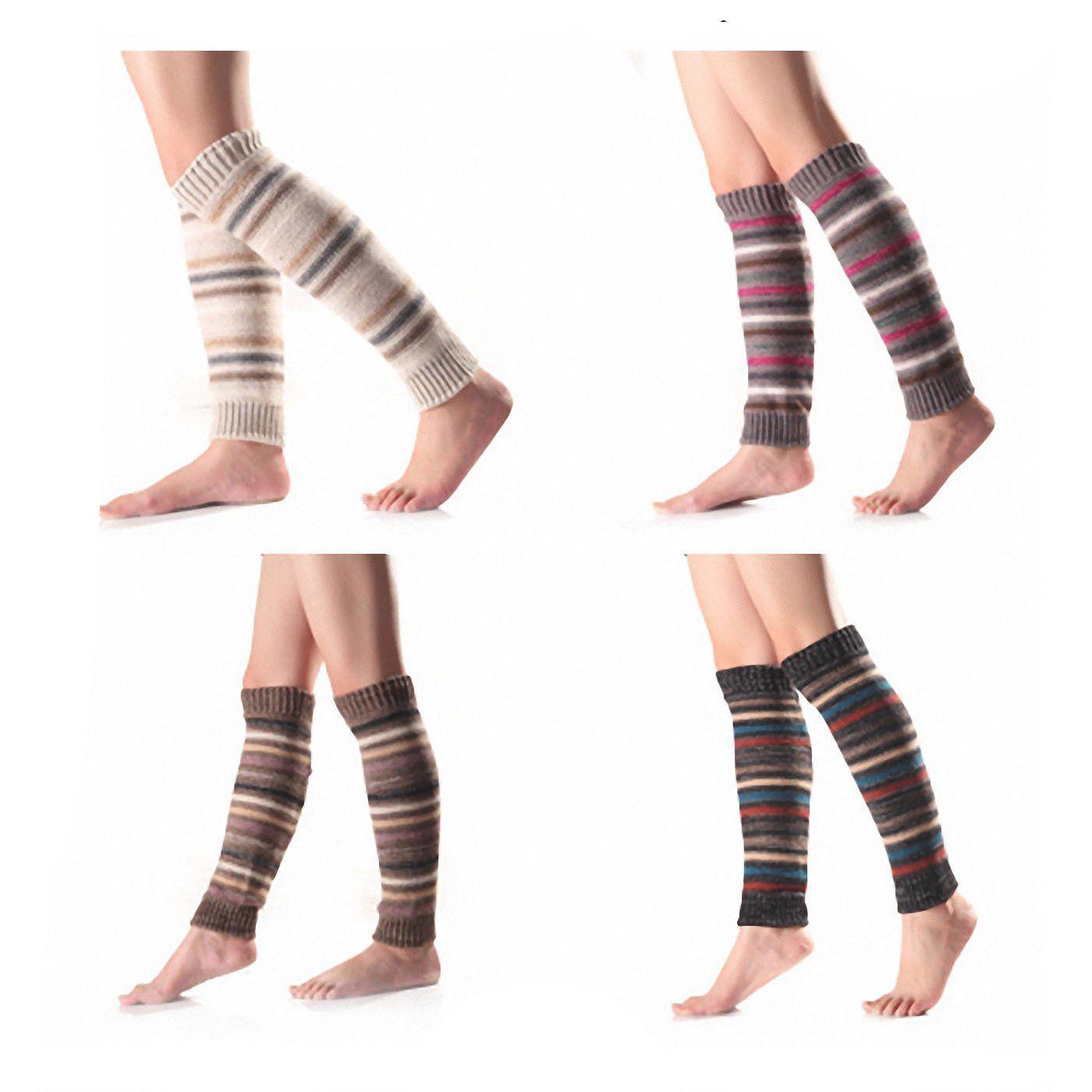 ed49eb4a4ce 4 Pack Women Leg Warmer Crochet Knit Boot Socks Topper Cuff. 4 pack Leg  Warmer