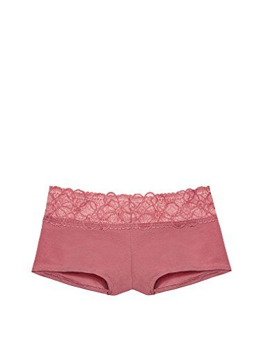 Victorias Secret PINK Tropical Lace Trim Shortie Boyshort Panty soft begonia Medium >>> To view further for this item, visit the image link.