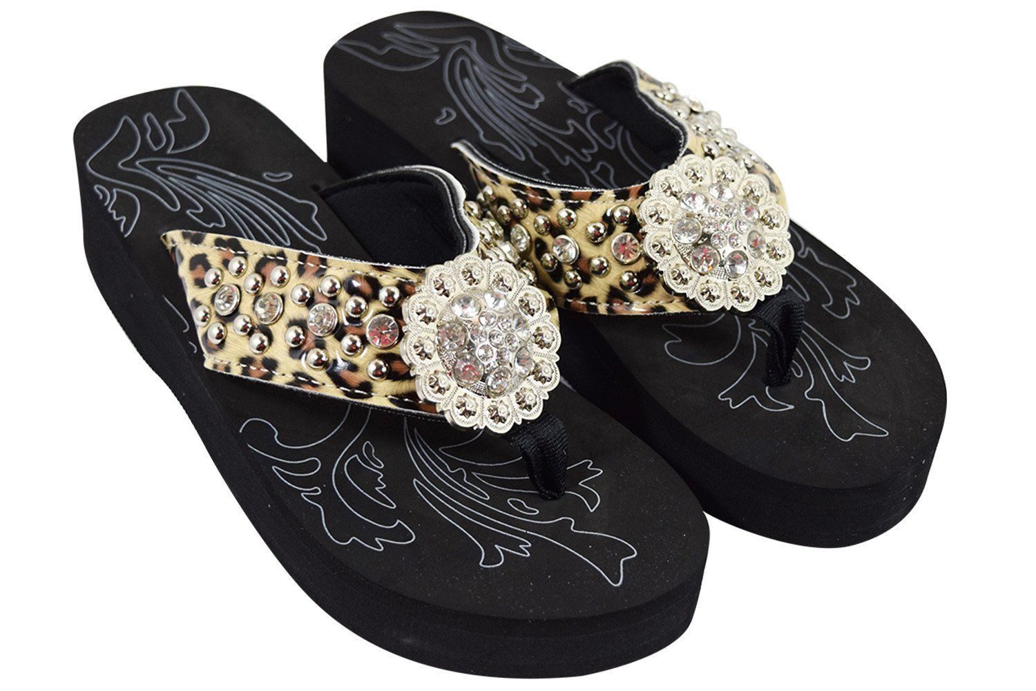 171fcbf0a9524 Western Cowgirl Leopard Straps Bling Flower Concho Metal Studs Wedge ...