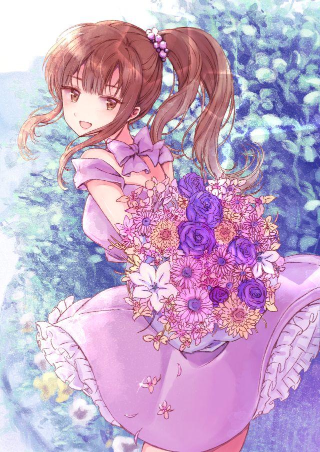 Tags Brown Eyes Brown Hair Dress Flower Happy Long Hair Ponytail Ribbon Artist Unagi Dango Animasi