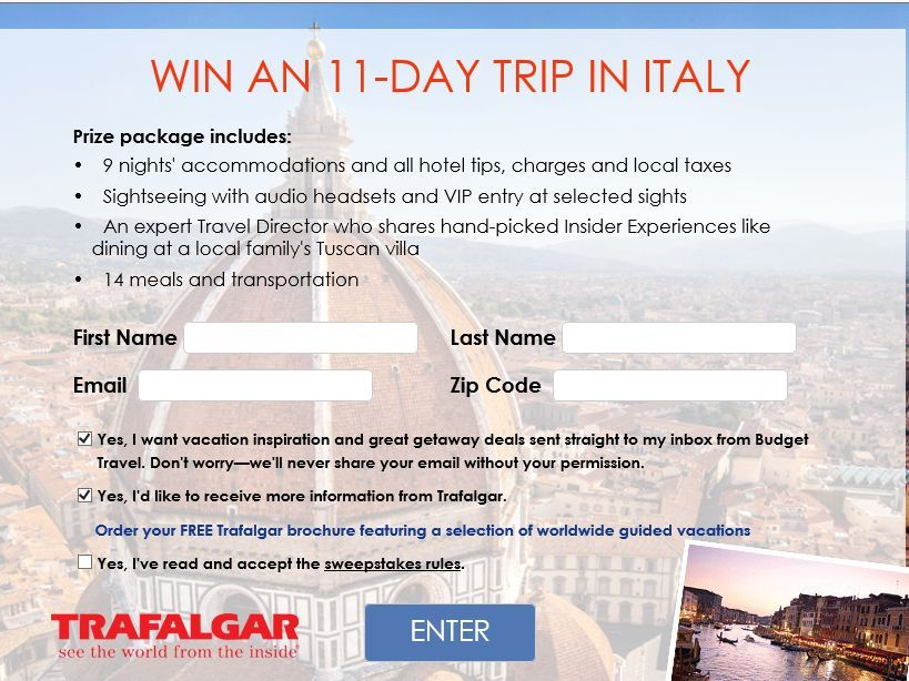 """Enter the Budget Travel """"Win an 11-Day Italian Discovery"""" Sweepstakes for a chance to win an 11-Day trip for two to Italy!"""