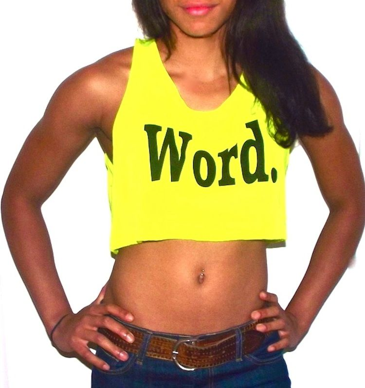Word Crop Top by Saving The World Apparel on shop us forward