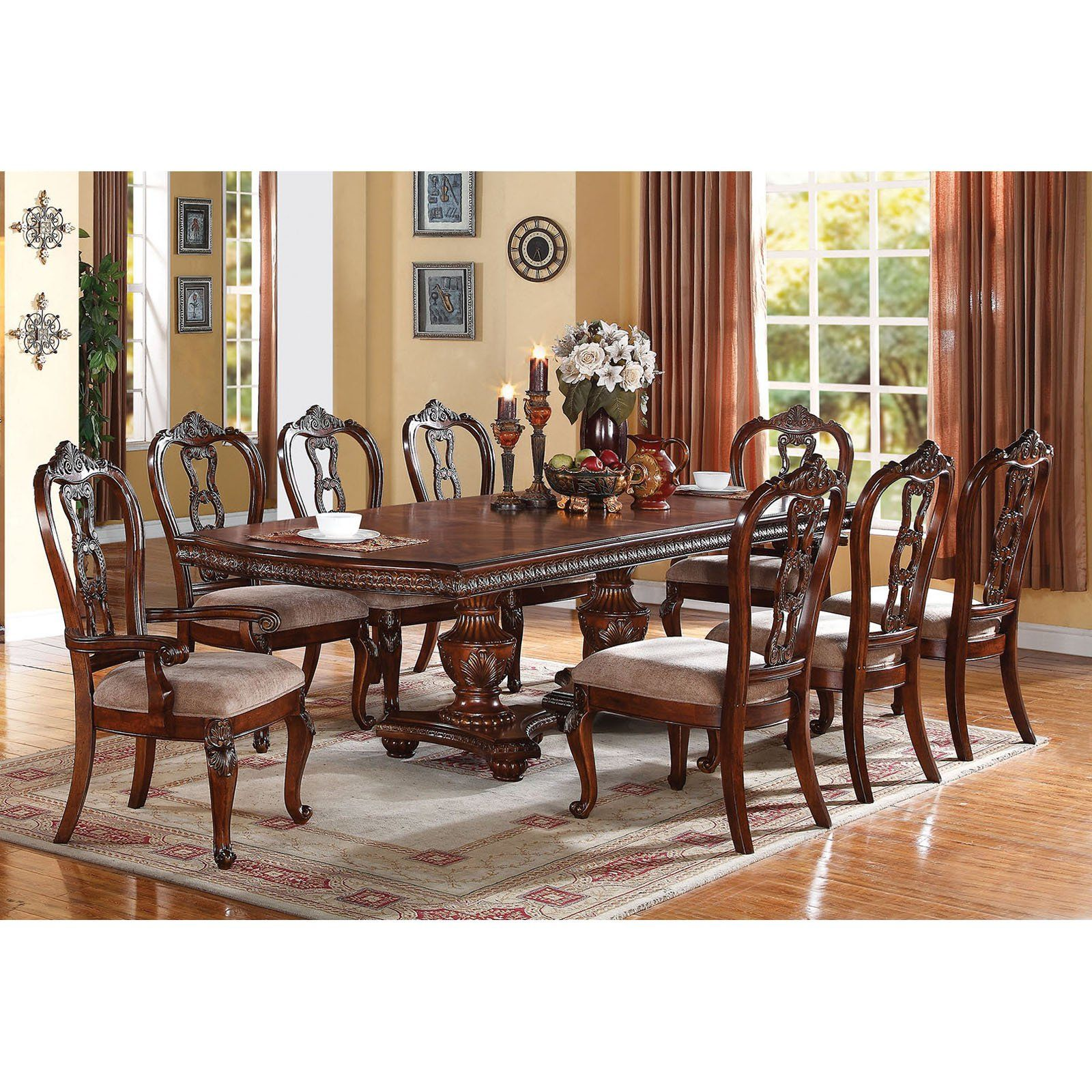 Acme Furniture Nathaneal 9 Piece Rectangular Dining Table Set Acm964 Double Pedestal Dining Table Dining Table Rectangular Dining Table