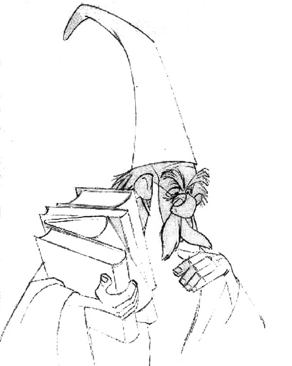Merlin The Wizard Thinking Hard While Holding Books Coloring Pages Bulk Color Coloring Pages Coloring Books Merlin The Wizard