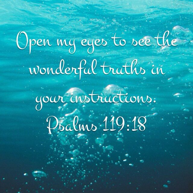 Open my eyes to see the wonderful truths in your instructions. Psalms 119:18