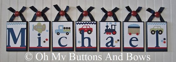 Baby Name Decor . Hanging Name Letters . PBK by OhMyButtonsAndBows, $22.00