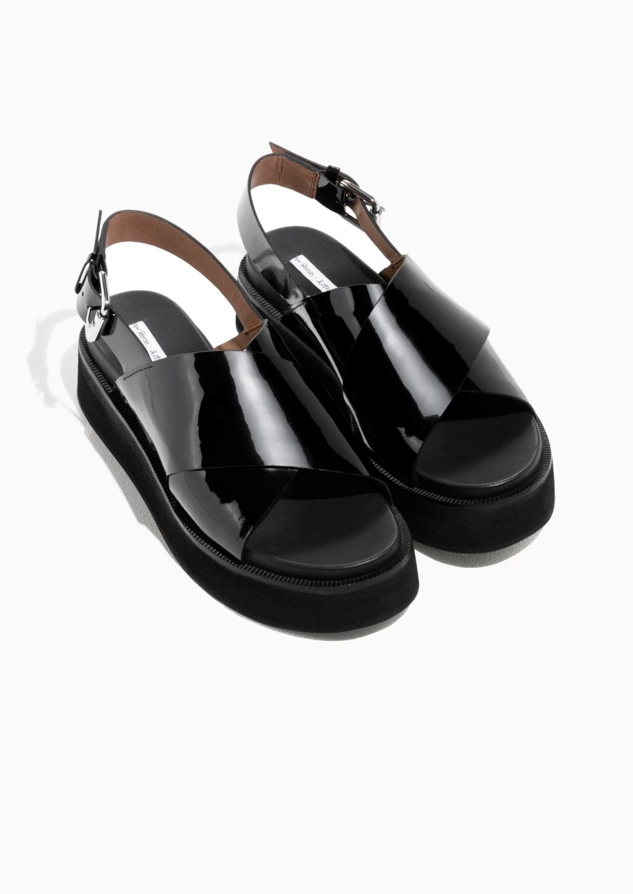 5da61a059e57   Other Stories image 2 of Patent Leather Cross Strap Sandal in ...