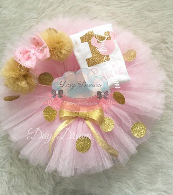 08e167b513d64 Rosa y oro tutu de minnie está hecho de yardas de tul rosa pálido ...