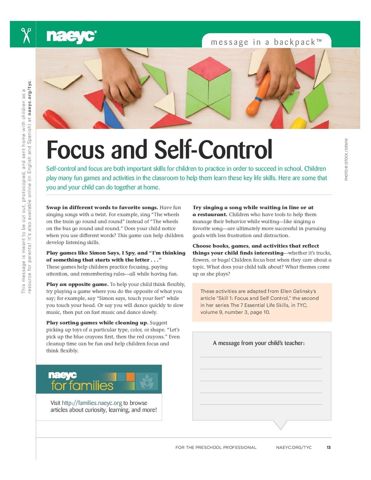 Self Control And Focus Are Both Important Skills For