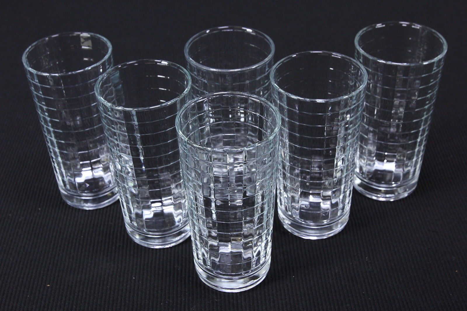 6 Clear Paneled Flat Tumblers W/ Horizontal Rings Vintage Drinking Glasses 10 Oz