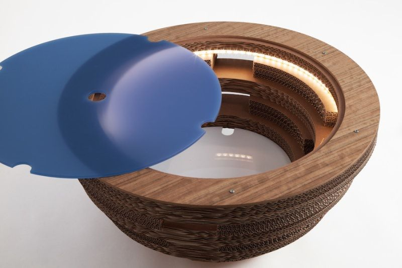 Tappo Illuminating Coffee Table Made From Cardboard And