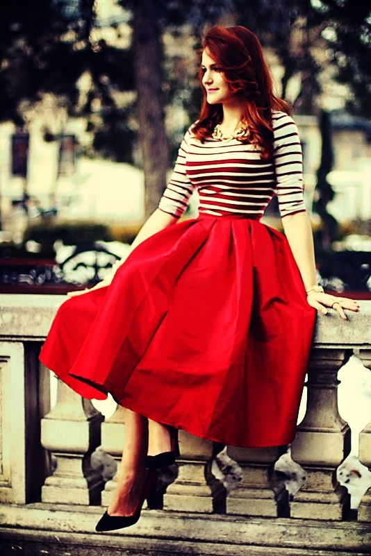 17 Best images about Style a Staple - Red Midi Skirt on Pinterest ...