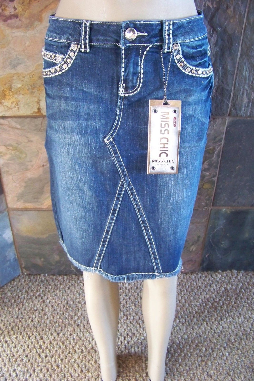 bbb9e7027b879 NWT Miss Chic denim knee length jean skirt BLING embellished Cross size S  (fits like a 0,1,2)