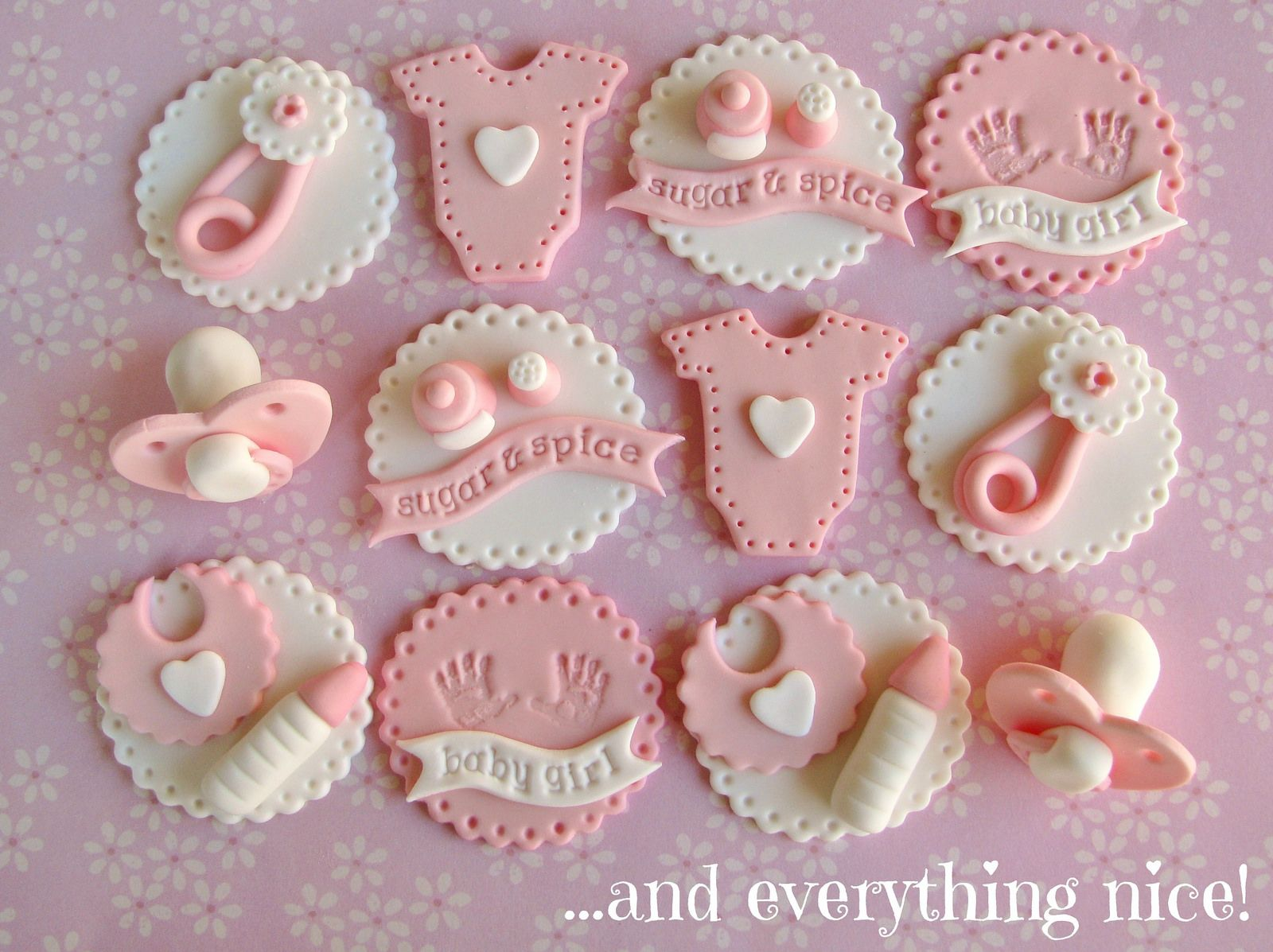 Baby shower fondant cupcake toppers 4 pieces total