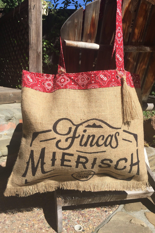 Burlap Red Bandana Tote/Coffee Gift Bag/Summer Tassel