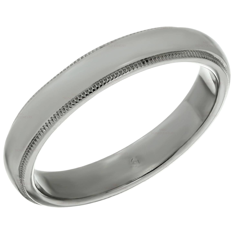 Tiffany And Co Platinum Milgrain Men S Wedding Band Ring Mens Wedding Bands Platinum Rings Mens Wedding Bands Platinum Wedding Band