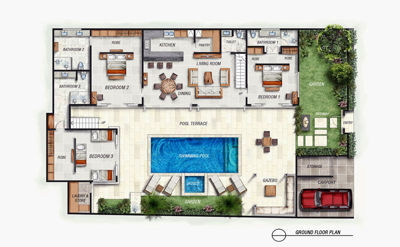 Bali Villa With Layout Floor Plan