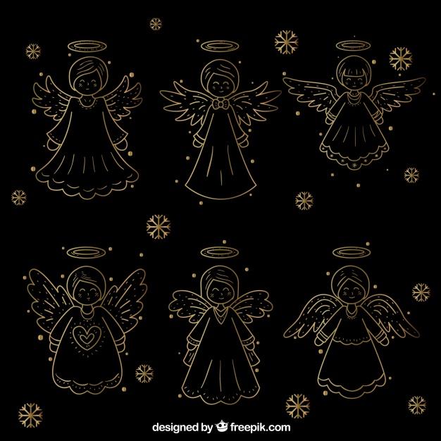 Coleccion De Angeles Navidenos Dorados Dibujados A Mano Descargar Vectores Gratis Angeles Navidenos Manos Dibujo Navideno