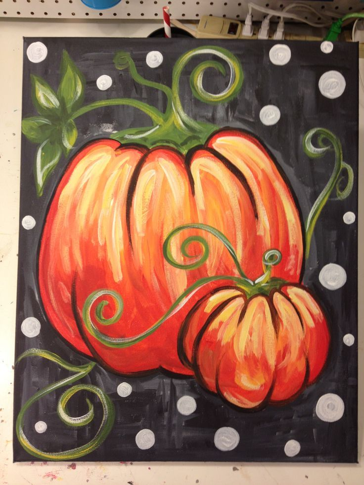 Fall Pumpkin On Canvas Fall pumpkins Chalkboard Pinterest