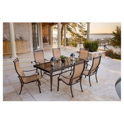 Monaco 7 Pc Dining Set With Six Sling Back Dining Chairs And One