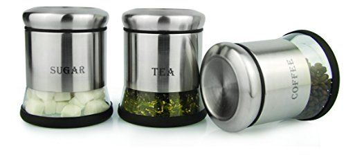 Home Fashions Elegant Tea Coffee And Sugar Gl Storage Canisters Set Stainless Steel Jackets With